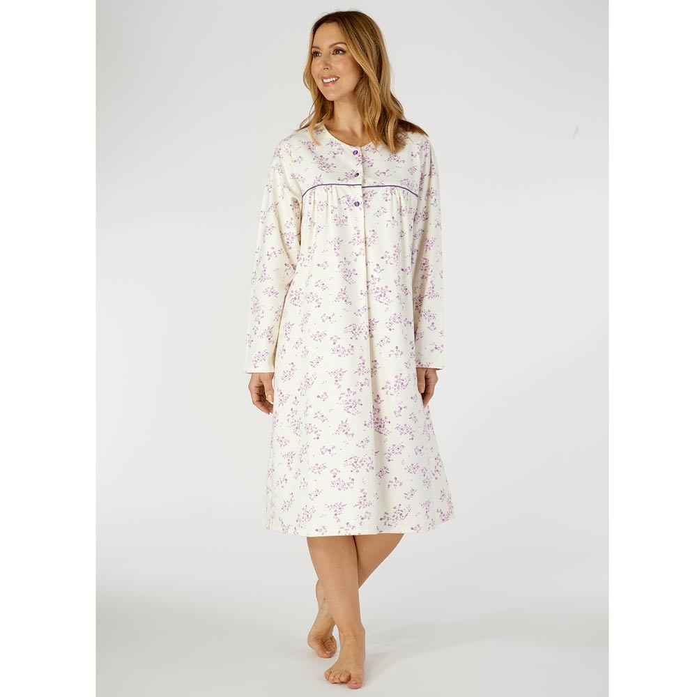 100/% Double Brushed Cotton Round Neck Longer Length Nightdress By Slenderella