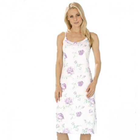 Spaghetti Straps Cotton Rose Nightdress