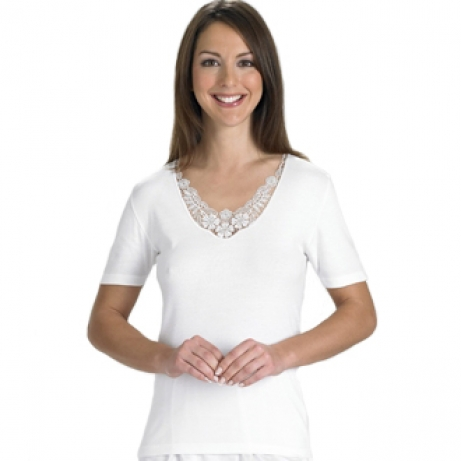 Embroidered Motif Short Sleeve Cotton Vest