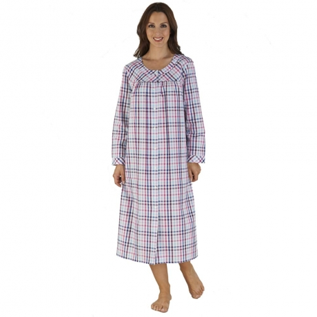 Checked Popper Front Housecoat
