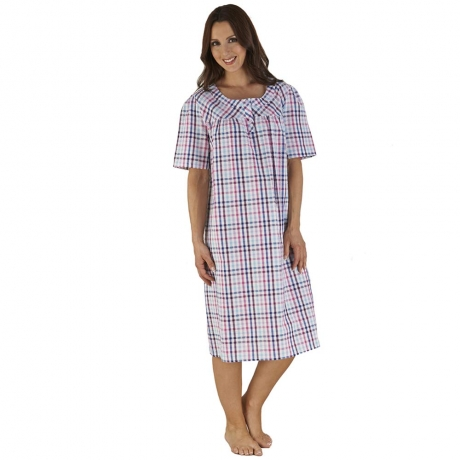 Checked Short Sleeve Nightdress