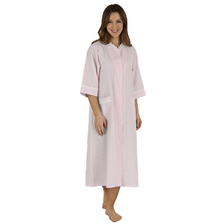 Candy Stripe Popper Front Housecoat Nightwear