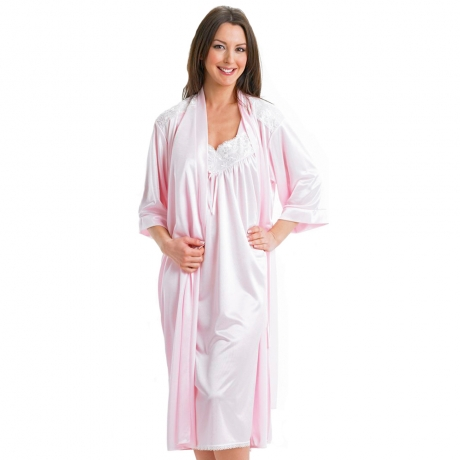 Size 26 Knitted Satin Dressing Gown