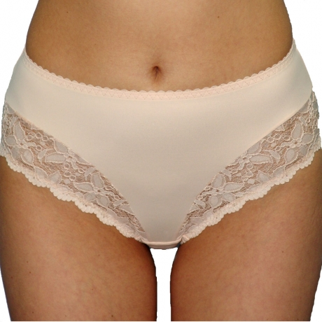 Stretch Lace & Microfibre Deep Briefs Stretch Lace and Microfibre