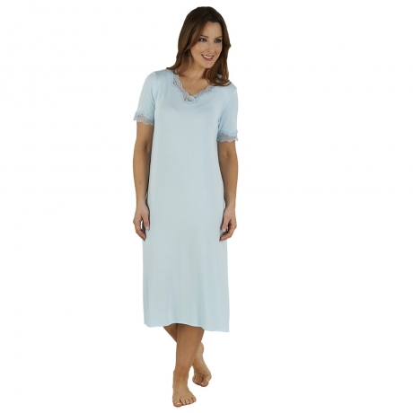 Jersey Short Sleeve V-neck Nightdress