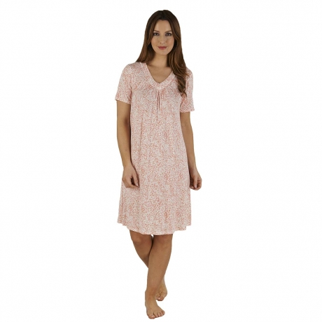 Short Sleeve V-neck Nightdress