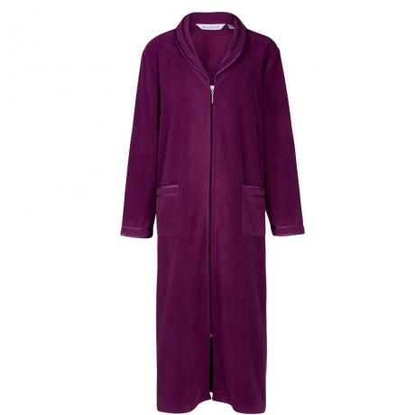 Zip Front Fleecy Housecoat