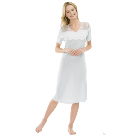 Short Sleeve V-neck Sleepshirt Nightwear