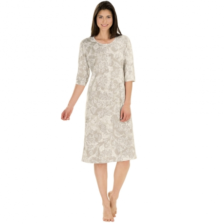 Floral print 3/4 sleeve cotton nightdress Nightwear