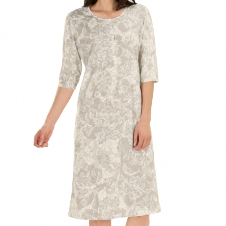 Floral print 3/4 sleeve cotton nightdress