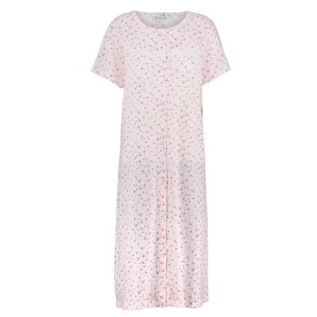 Short Sleeve Buttoned Jersey Nightdress Nightwear