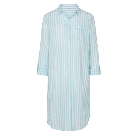 Pure Cotton Button Through Long Sleeve Nightshirt