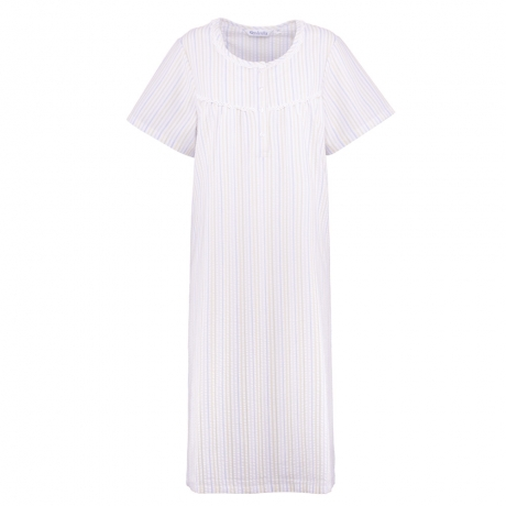 Short Sleeve Seersucker Pastel Nightdress