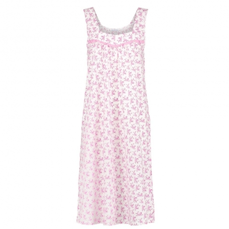 Cotton Broad Strap Flower Design Nightdress