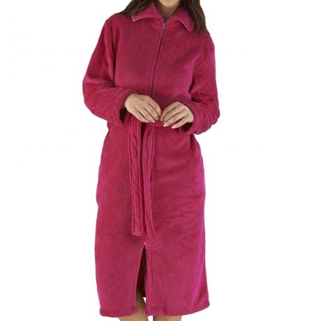 Zip Front Belted Waist Tie Housecoat Housecoats