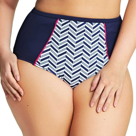 Size 22 Chevron High Waist Swim Briefs