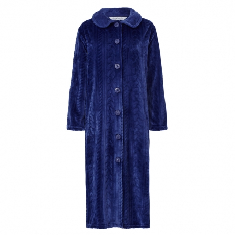 Button Through Cosy Cable Pattern Housecoat Housecoats