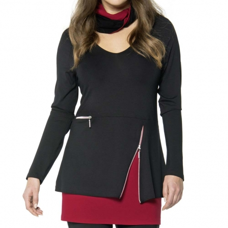 Tunic Top with Zip Detail