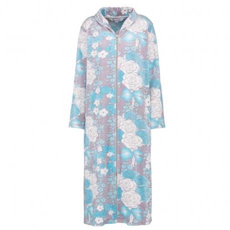 Zip Front Floral Velour Housecoat
