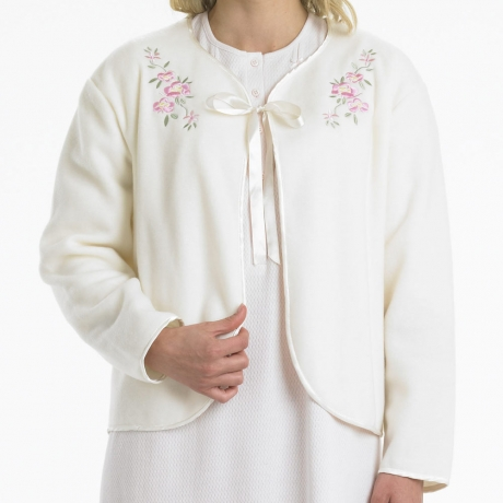Ribbon Tie Polar Fleece Bedjacket Nightwear