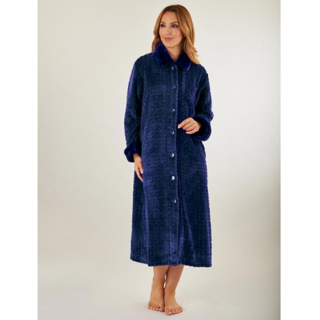 Waffle Fleece Button Through Housecoat Nightwear