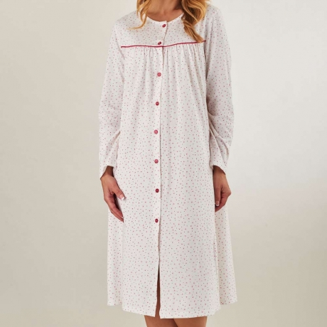 Long Sleeve Button Through Cotton Nightdress