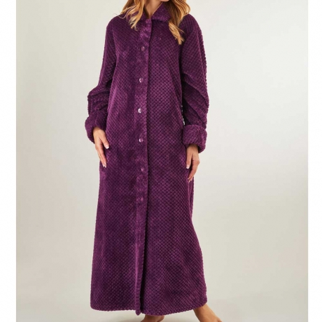 Button Through Long Waffle Fleece Housecoat Nightwear