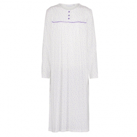 Buttoned Yoke Long Sleeve Cotton Nightdress Size 16/18
