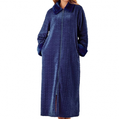 Waffle Fleece Zip Through Housecoat Nightwear
