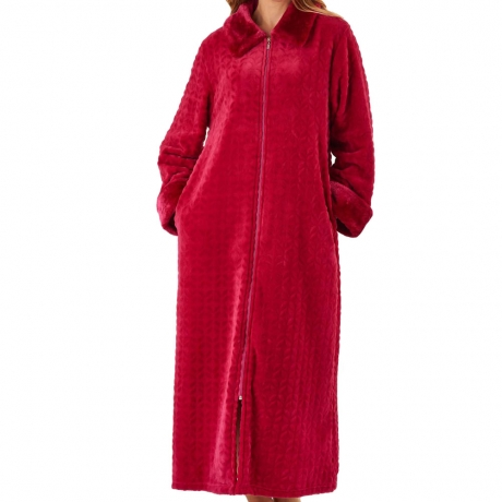 Waffe Fleece Zip Through Housecoat Nightwear
