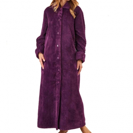 Button Through Long Waffle Fleece Housecoat