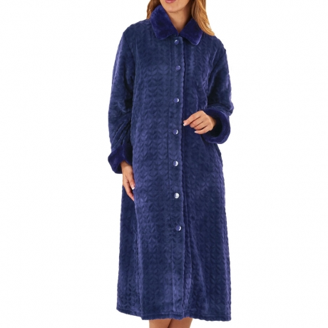 Waffle Fleece Button Through Housecoat