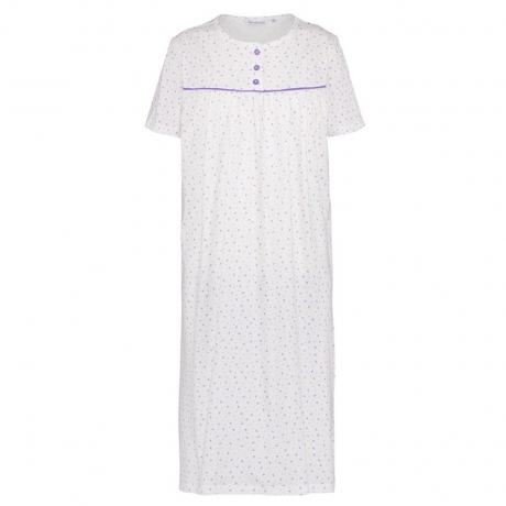 Buttoned Yoke Short Sleeve Cotton Nightdress