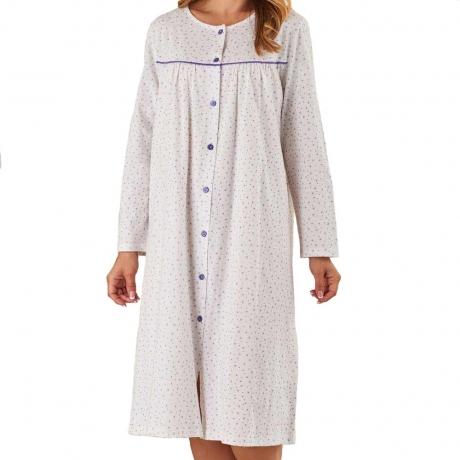 Long Sleeve Button Through Cotton Nightdress