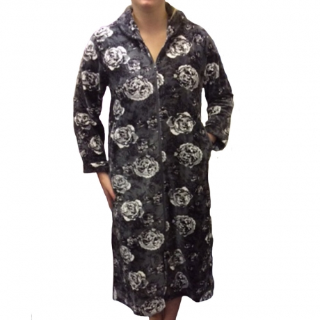 Zip Opening Fleece Housecoat Nightwear