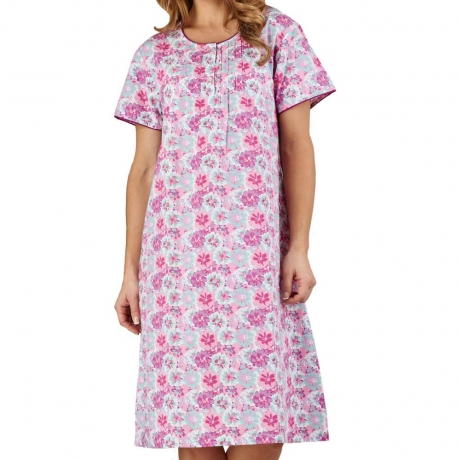 Flower Print Cotton Short Sleeve Nightdress Nightwear