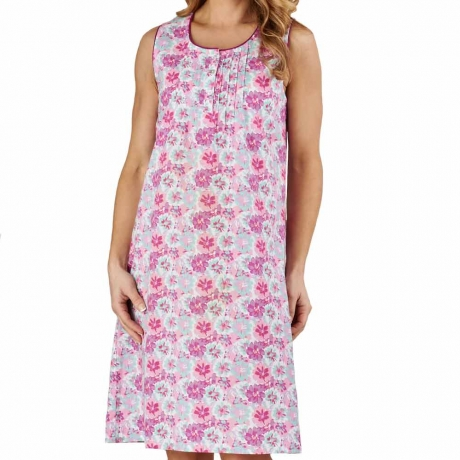 Flower Print Cotton Sleeveless Nightdress