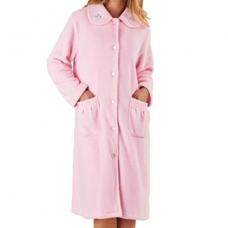 Button Opening Soft Fleece Housecoat Nightwear