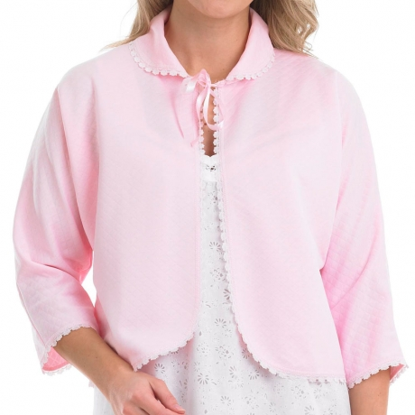 Ribbon Tie Lightly Quilted Pastel Bedjacket