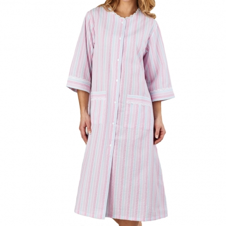 Seersucker 3/4 Sleeve Popper Front Housecoat Nightwear