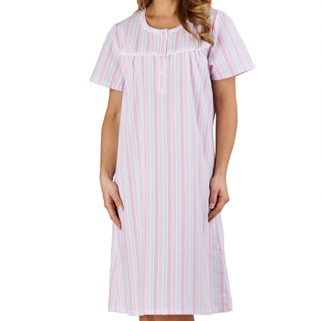 Seersucker Short Sleeve Round Neck Nightdress