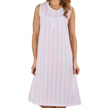 Seersucker Sleeveless Nightdress