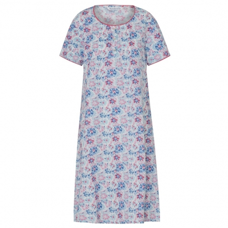 Flower Print Cotton Short Sleeve Nightdress