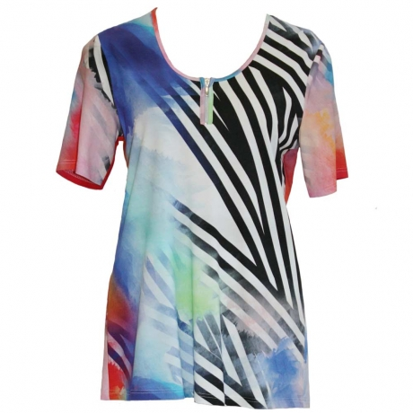 Tie Dye Zip Detail Top
