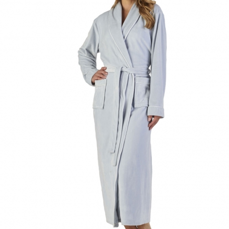 Longer Length Velour Cosy Wrap Front Housecoat Nightwear