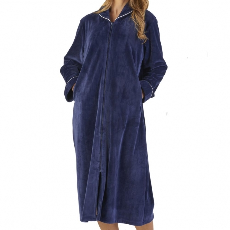 Zip Opening Velour Cosy Housecoat