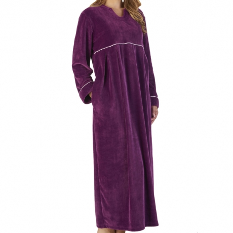 Long Length Velour Cosy Kaftan Nightwear