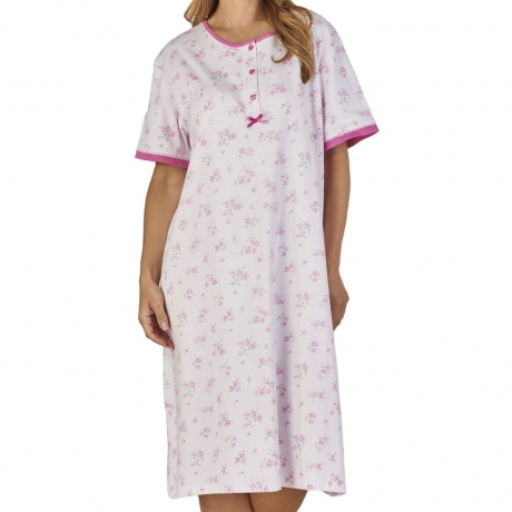 Short Sleeve Rose Print Cotton Nightdress