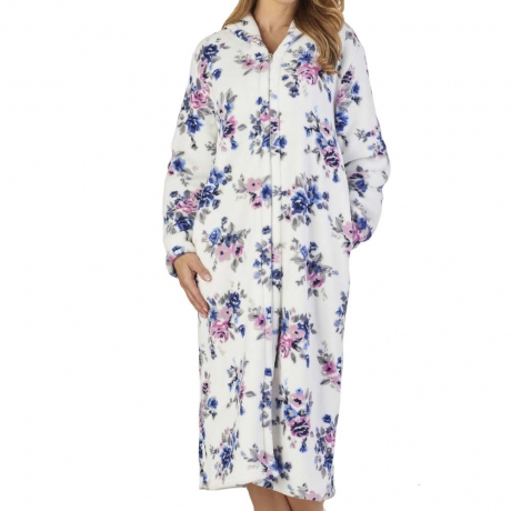 Luxury Zip Opening Floral Print Housecoat