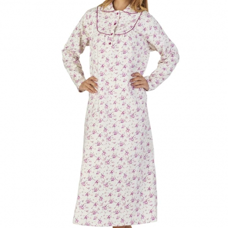 Long Sleeve Buttoned Yoke Flannel Nightdress